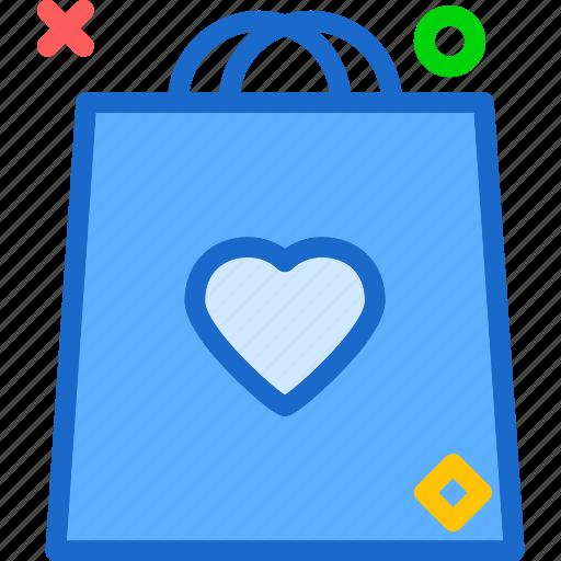 bag, heart, love, romance icon
