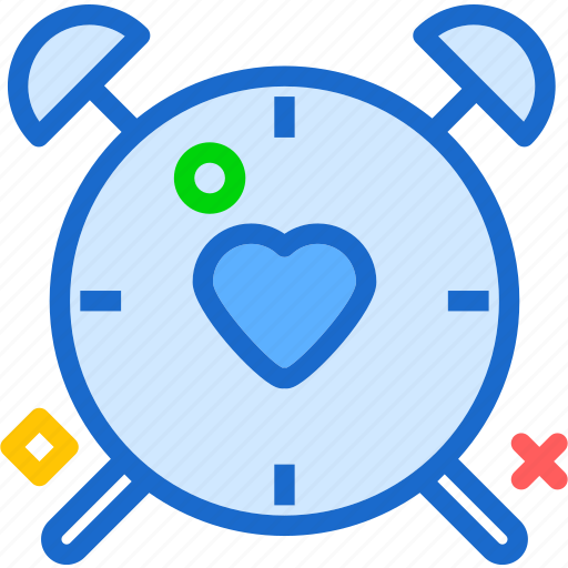 alarm, clock, heart, love, romance, watch icon
