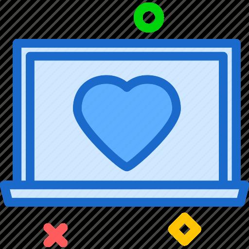 heart, laptop, love, romance icon