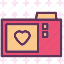 camera, heart, love, romance icon