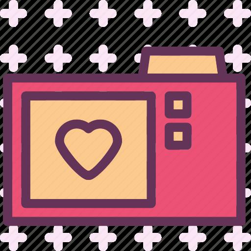 camera, heart, love, romance icon
