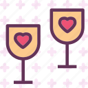 heart, love, romance, wineglass icon