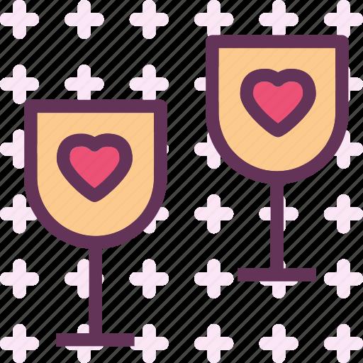 heart, love, romance, wineglass icon
