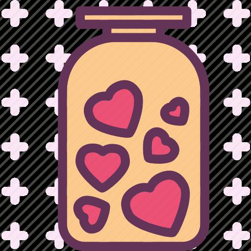 heart, jar, love, romance icon