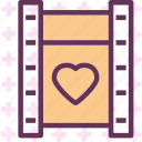 heart, love, movie, romance icon