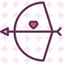 bow, cupid, heart, love, romance icon