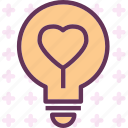 heart, lighbulb, love, romance icon