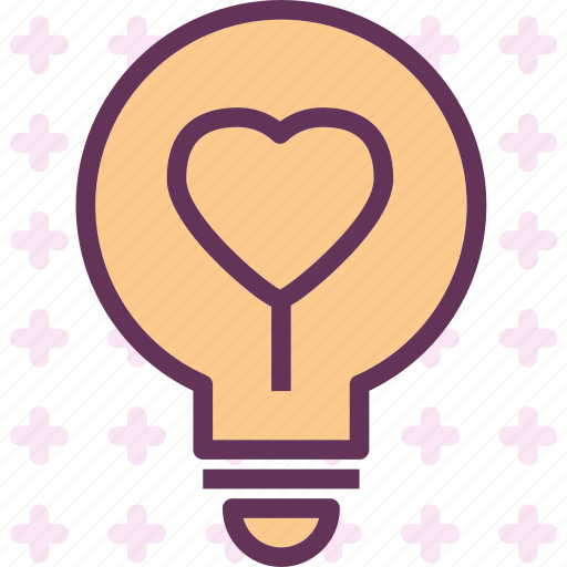 heart, lighbulb, love, romance icon