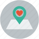 heart, location, love, valentine icon