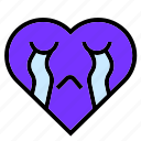 cry, heart, interface, love, purple, sad, shape icon