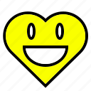 heart, interface, like, love, shape, smile, yellow icon