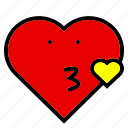 heart, interface, kiss, love, red, shape, yellow icon