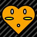 flirt, heart, like, love, orange, shape, wonder icon
