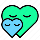 couple, cuddle, green, heart, like, love, peace icon