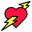 heart, interface, like, love, red, shape, thunder icon