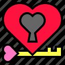 heart, hole, key, locked, love, shape, valentines icon