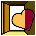 door, entrance, heart, lonely, love, shape, valentines icon