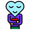 character, heart, hug, like, love, peace, smile icon