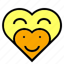 couple, heart, like, love, orange, smile, yellow icon