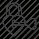 heart, key, lock, love, protection icon