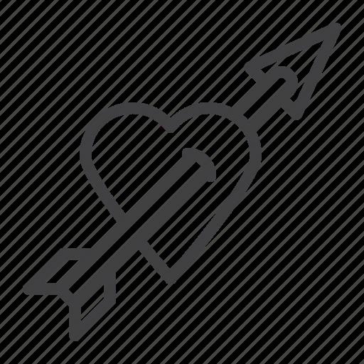 arrow, cupid, heart, love icon