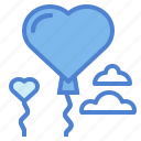 balloons, day, heart, love, valentines icon