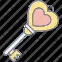 heart, key, love, valentine