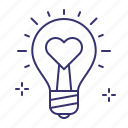 energy, lightbulb, love, romantic, wedding icon