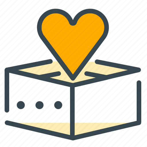 box, empty, heart, love, marriage icon