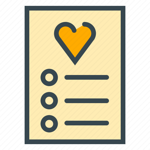 checklist, document, guest, heart, list, love, paper icon