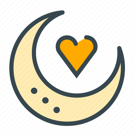 heart, love, marriage, moon, night, one, stand icon