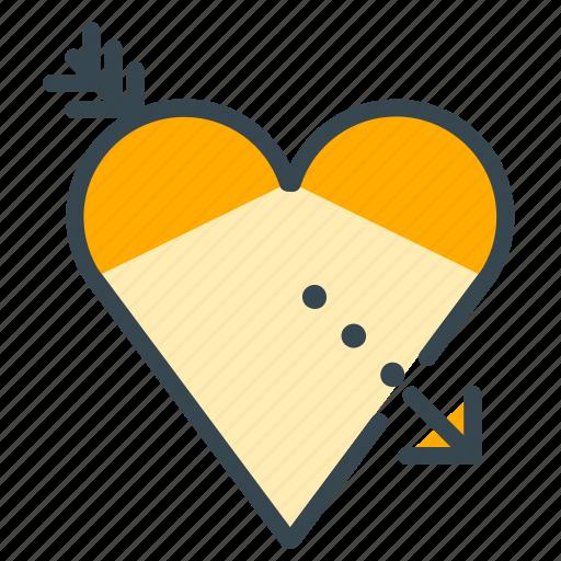 arrow, heart, love, romance, romantic, valentine icon