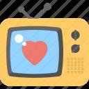 multimedia, romantic transmission, television, tv, tv box, tv screen, tv set icon