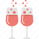 beverage, drink with heart bubbles, love theme, party, wine hearts icon