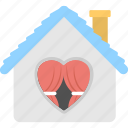happy family concept, home with heart sign, sweet home icon
