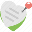 love greetings, love message, thumbtack heart shape message, valentine greeting, valentine wishes icon