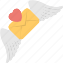 envelope wings, flying love letter, love concepts, love letter, love letter with wings and heart icon