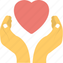 hands holding heart, hands represents friendship, heart care, heart represents love, love icon