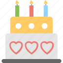 anniversary cake, birthday cake, cake, cake with candles, wedding cake icon