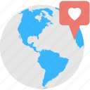 date point, favorite location, favorite place, heart in pin, romantic place icon