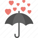 heart raining, hearts over umbrella, hearts rain, love concepts, umbrella with rain hearts icon
