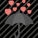 heart raining, hearts over umbrella, hearts rain, love concepts, umbrella with rain hearts