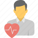 cardio pulse, heart feelings, heart rate, heartbeat concept, male avatar with heartbeat sign
