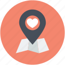 favorite location, heart, location marker, love pin, map pin icon
