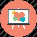 artboard, easel, hearts, hearts painting, love canvas