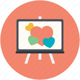 artboard, easel, hearts, hearts painting, love canvas icon