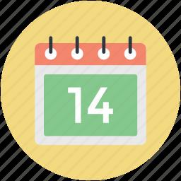 14 february, february calendar, heart calendar, valentine day, wall calendar icon