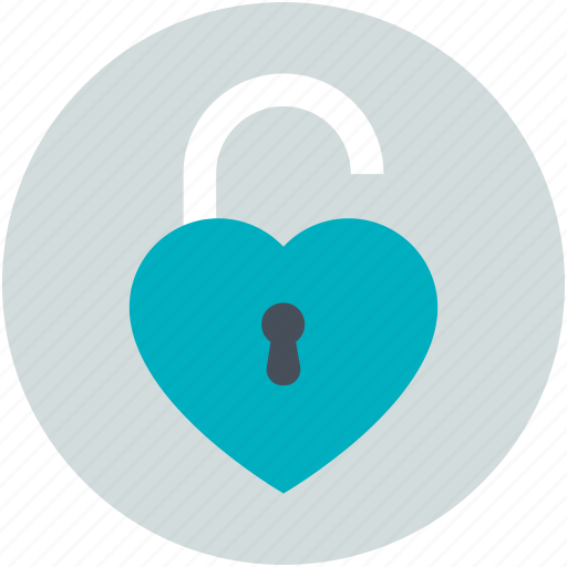 heart unlock, love inspiration, privacy, romantic, secret feelings icon