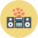 boombox, hearts, romantic music, romantic song, sound system