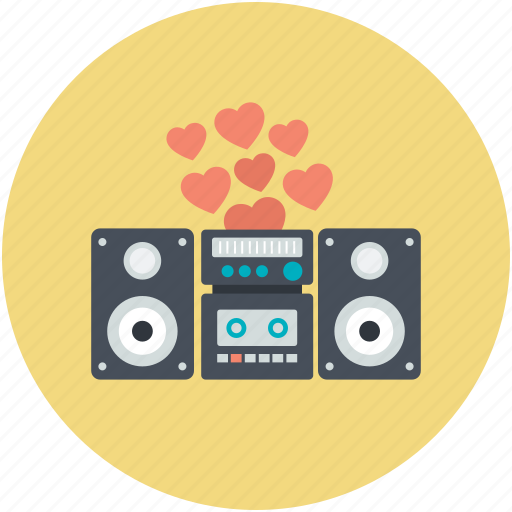 boombox, hearts, romantic music, romantic song, sound system icon